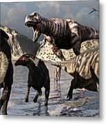 A Tyrannosaurus Rex Moves Metal Print by Mark Stevenson