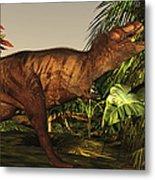 A Tyrannosaurus Rex Runs Metal Print by Corey Ford