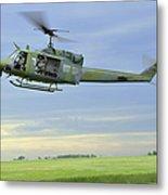 A Uh-1n Huey Helicopter Prepares Metal Print