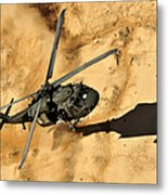 A Uh-60 Black Hawk Helicopter Comes Metal Print