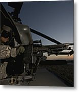 A Uh-60l Blackhawk Door Gunner Mans Metal Print