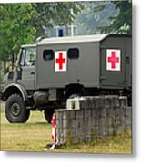A Unimog In An Ambulance Version In Use Metal Print