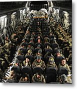 A Unit Of U.s. Army Soldiers In A C-17 Metal Print