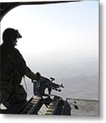 A U.s. Army Soldier Scans The Area Metal Print