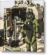 A U.s. Marine Dressed In A Bomb Suit Metal Print