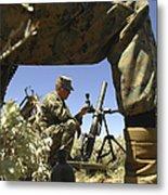A U.s. Marine Mortarman Trains On An Metal Print