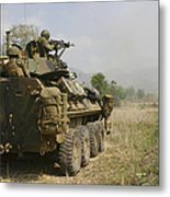 A U.s. Marine Uses An M-240b Machine Metal Print by Stocktrek Images
