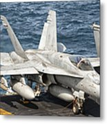 A Us Navy Fa-18c Hornet Tied Metal Print by Giovanni Colla