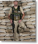 A U.s. Police Officer Contractor Leans Metal Print