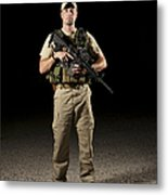 A U.s. Police Officer Contractor Metal Print