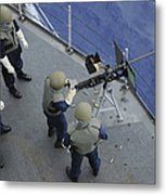 A U.s. Sailor Fires A .50-caliber M2hb Metal Print