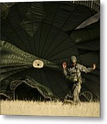 A U.s. Soldier Collapses His Parachute Metal Print