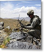 A U.s. Soldier Sets Up A Portable Metal Print