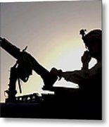A U.s. Soldier Talks On A Hand Mike Metal Print by Stocktrek Images