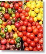 A Variety Of Fresh Tomatoes Artichokes And Celeries - 5d17901-long Metal Print by Wingsdomain Art and Photography