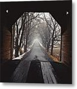 A View Down A Tree-lined Road Metal Print
