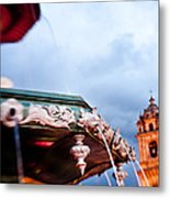 A View Of The Fountain In The Plaza De Metal Print