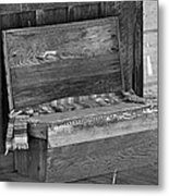A Weathered Bench Black And White Metal Print