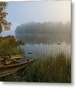A Weathered Rowboat On The Shore Metal Print