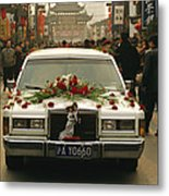 A Wedding Limousine With Flowers Rolls Metal Print
