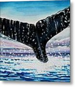 A Whale And A Violet Sunset Metal Print