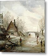 A Winter Landscape With Figures Skating Metal Print