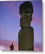 A Woman And A Monolithic Statue Metal Print