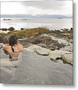 A Woman Enjoys A Hot Spring Metal Print