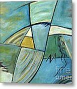 Beautiful Woman Contemporary Abstract Art Portrait Prints For Modern Living Rooms Metal Print