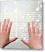 A Woman's Hands  Operating On Digital Music Metal Print