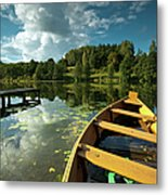 A Wooden Boat On A Lake In Suwalki Lake District Metal Print by Slawek Staszczuk