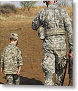 A Young Boy Joins His Squad Leader Metal Print