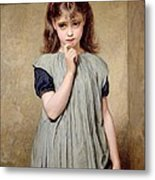 A Young Girl In The Classroom Metal Print