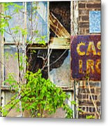 Abandoned Factory With Rusted Metal Sign Metal Print by Gordon Wood