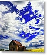Abandoned Farmhouse In A Canola Field Metal Print
