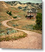 Abandoned House On Dirt Road Metal Print