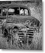 Abandoned Vintage Car Along The Roadside Metal Print