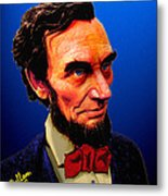 Abe Lincoln Blue Metal Print