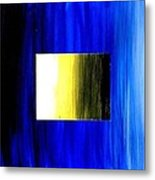 Abstract 3d Golden Blue  Square Metal Print