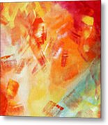 Abstract Art Colorful Bright Pastels Original Painting Spring Is Here I By Madart Metal Print