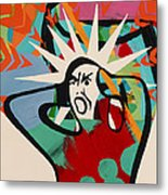 Abstract Artwork Of A Angry Man Holding His Head Metal Print