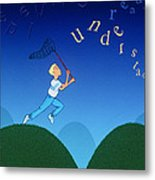 Abstract Artwork Of A Dyslexic Boy Chasing Words Metal Print