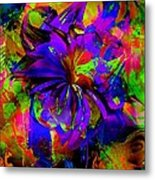 Abstract Blue And Red Metal Print by Doris Wood