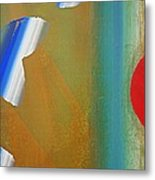Abstract Blue With Red Sun Metal Print