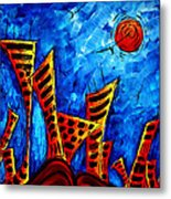 Abstract Cityscape Art Original City Painting The Lost City II By Madart Metal Print