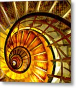 Abstract Golden Nautilus Spiral Staircase Metal Print