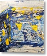 Abstract Kotel Prayer At The Western Wall Waiting For Peace In Blue Yellow Silver Jerusalem Israel  Metal Print