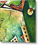 Abstract Martini Cityscape Contemporary Original Painting Martini Hour By Madart Metal Print