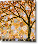 Abstract Modern Tree Landscape Dreams Of Gold By Amy Giacomelli Metal Print