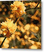 Abstract Of Yellow Flowers Metal Print